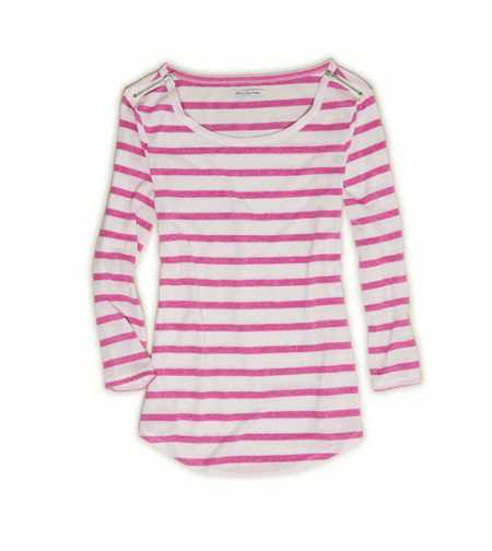 AE Stripe Zip Shoulder T-Shirt