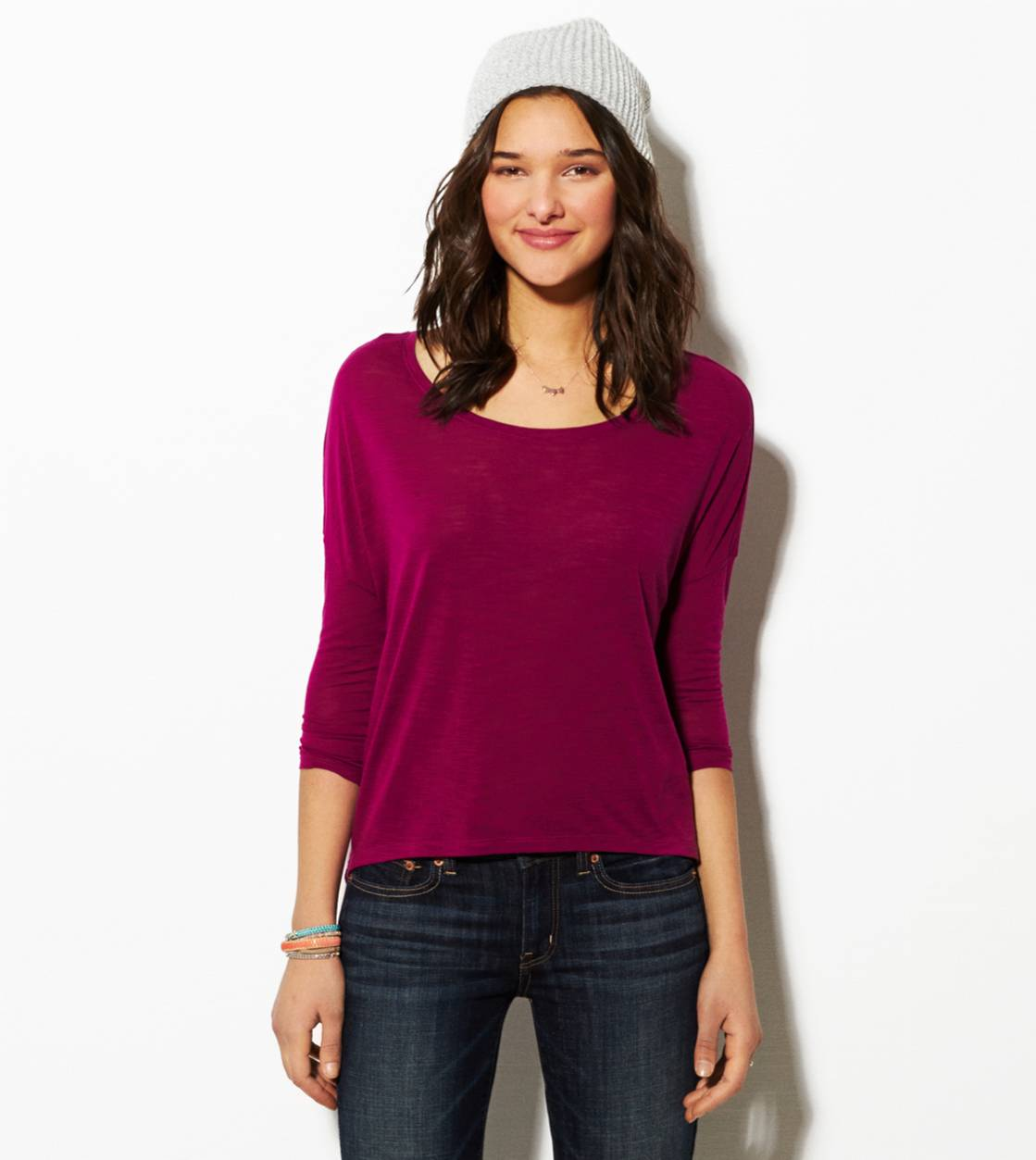 Purple AE Cropped Dolman T-Shirt