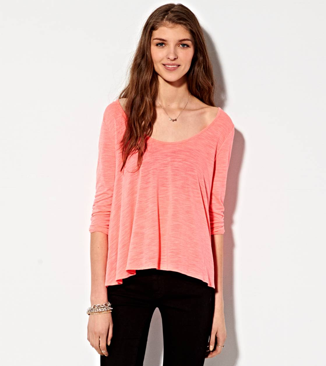 Coral Burst AE Flowy Cross Back Shirt