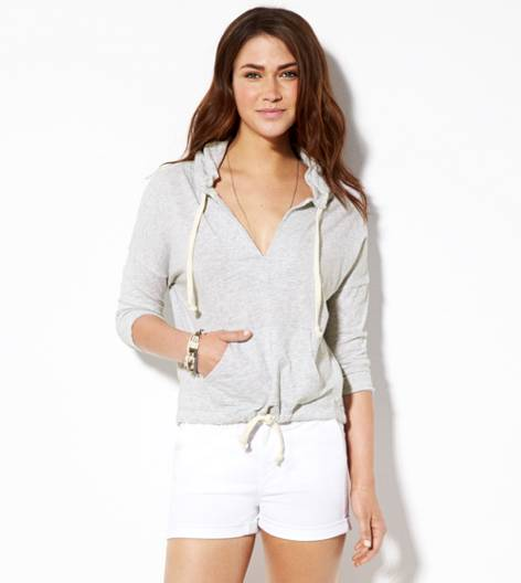 Heather Grey AE Cropped Hoodie T-Shirt