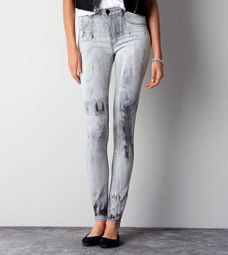 Sky High Jegging - Grey Tie Dye