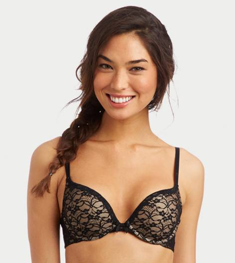 True Black Brooke Vintage Lace Pushup Bra