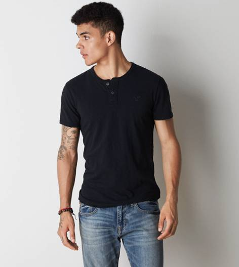 Black AEO Legend Henley T-Shirt