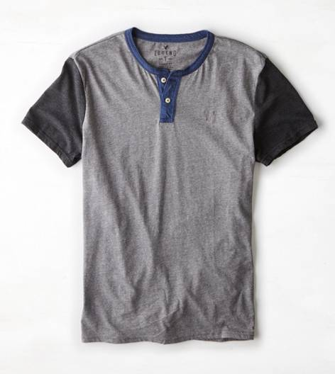 Heather Grey AEO Legend Henley T-Shirt