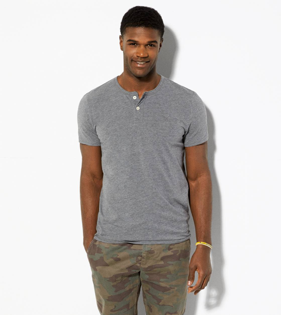 Grey AE Legend Henley T-Shirt