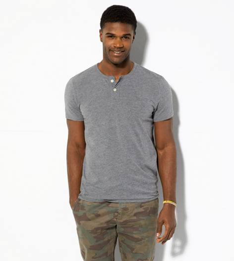 Grey AEO Legend Henley T-Shirt