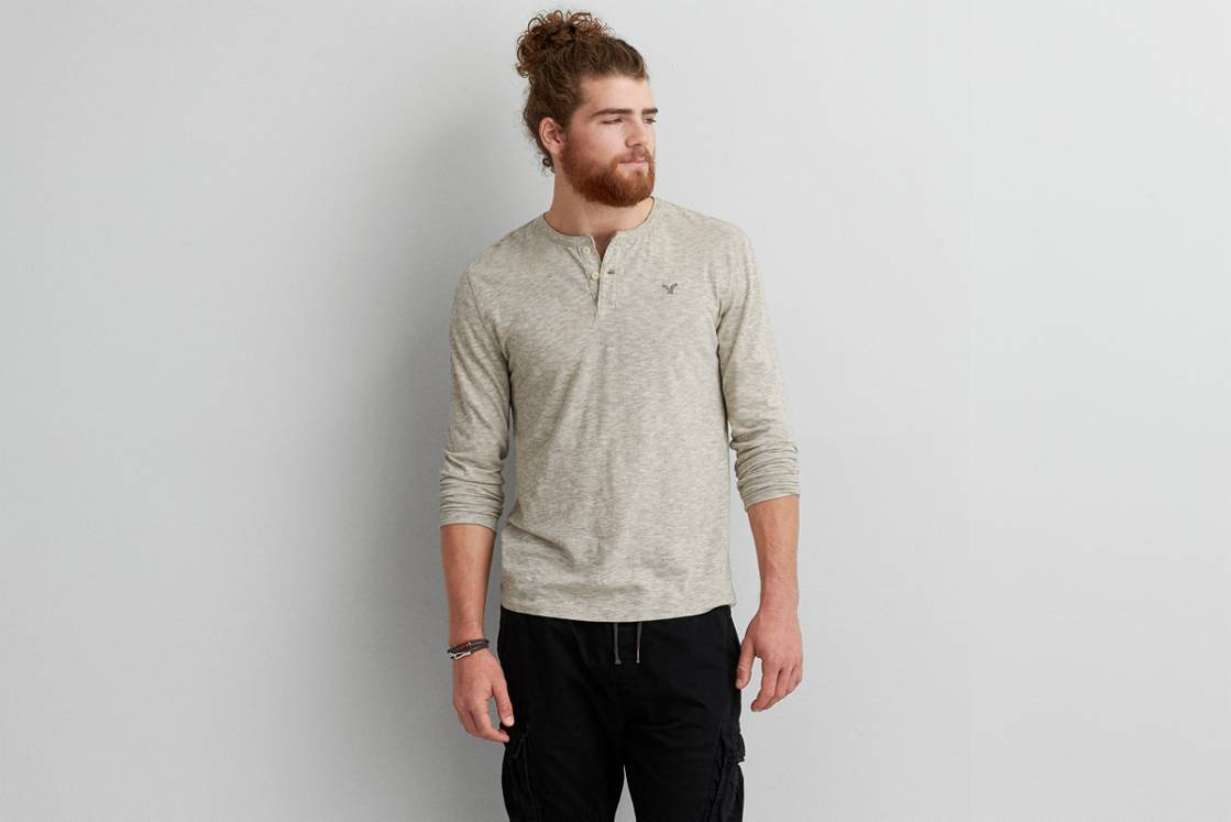 Hazelnut Marl AE Legend Long Sleeve Henley