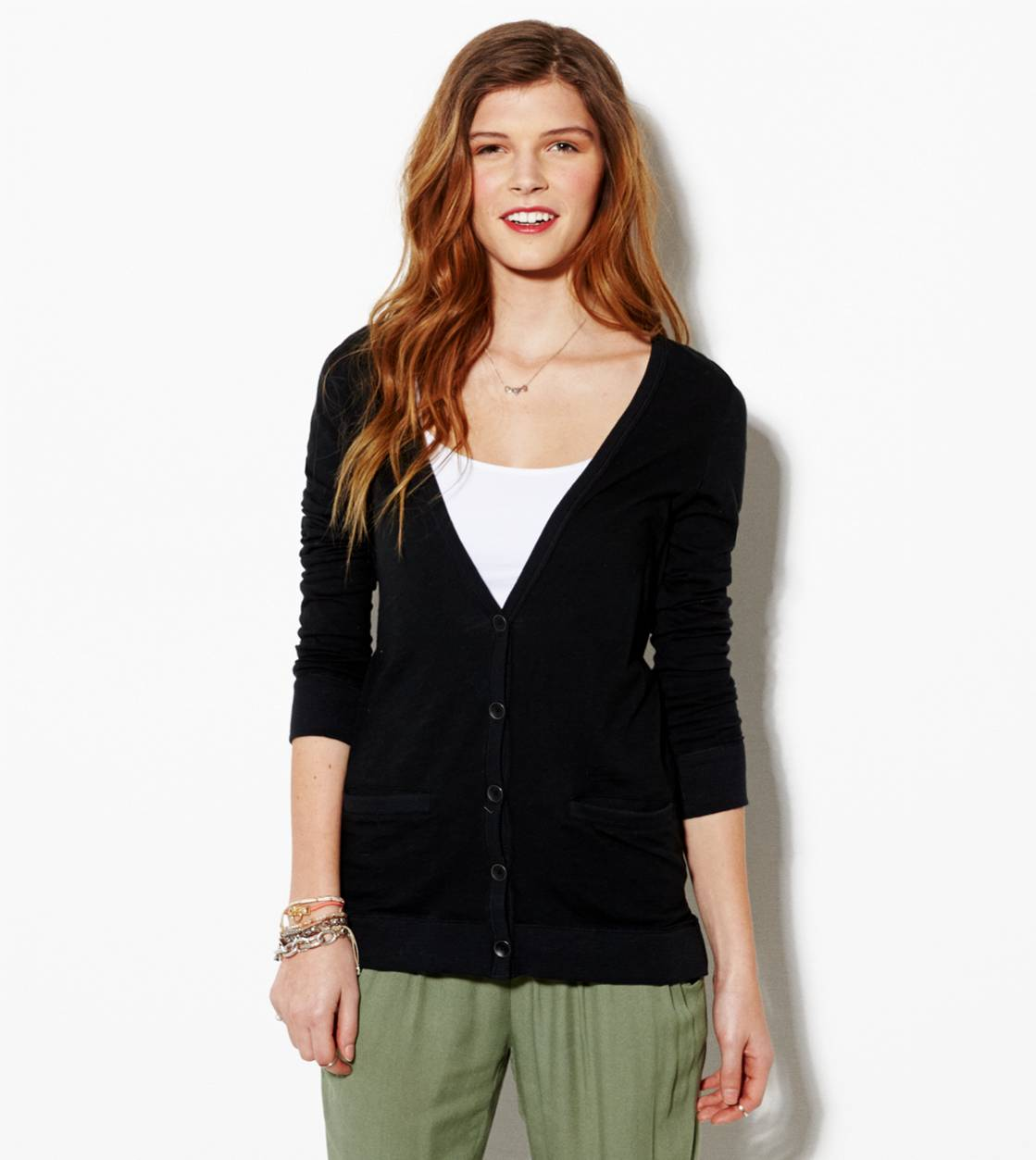 Black AE Lightweight Boyfriend Cardigan