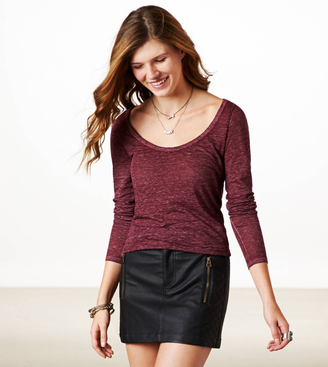 Burgundy AE Real Soft Long Weekend Layering T-Shirt