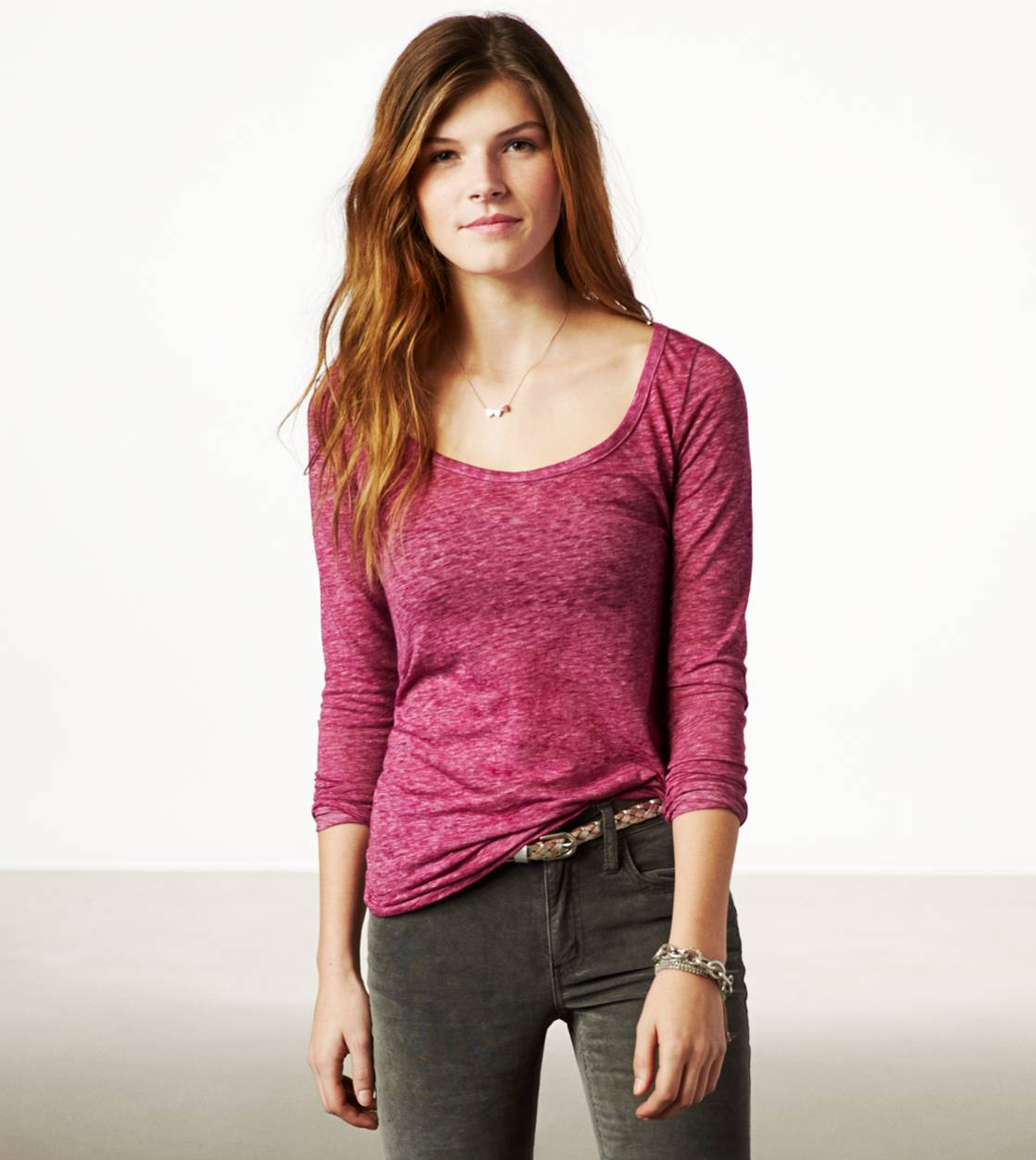 Bright Pink AE Real Soft Long Weekend Layering T-Shirt