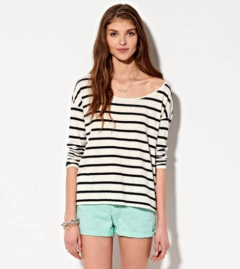White  AE Striped T-Shirt