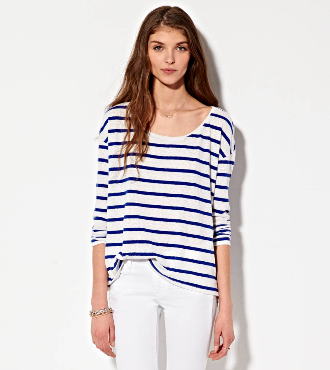 Cobalt Blue AE Striped T-Shirt