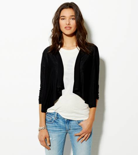 True Black AE Waterfall Cardigan