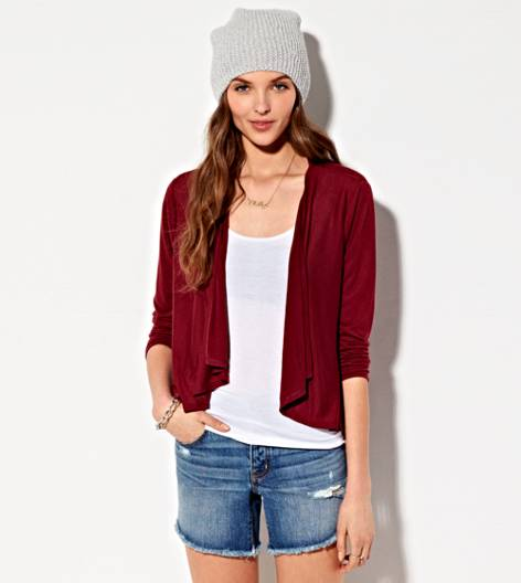 Cranberry AE Waterfall Cardigan
