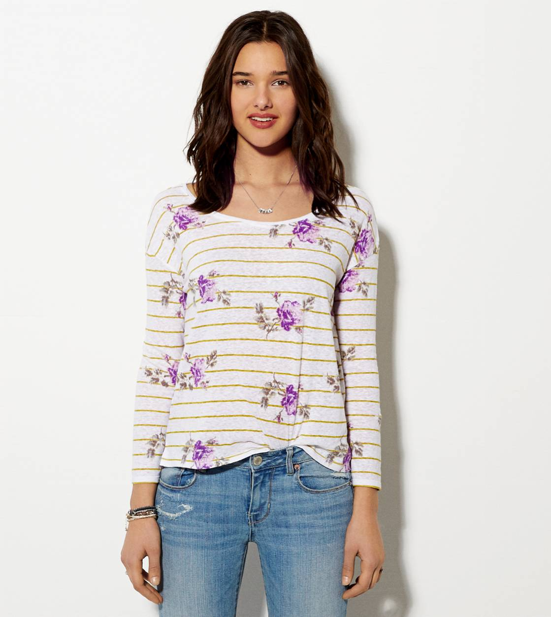 Purple AE Rose Cropped T-Shirt