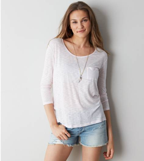 Pink Cotton AEO Real Soft® Favorite Pocket T-Shirt