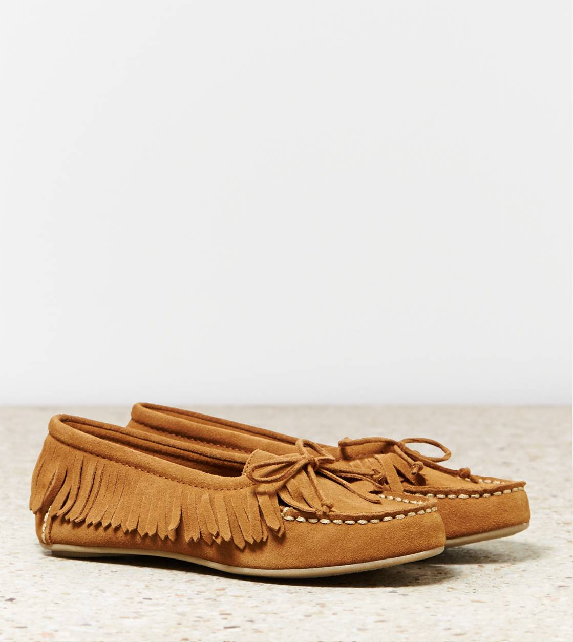 Chestnut AEO Fringed Moccasin