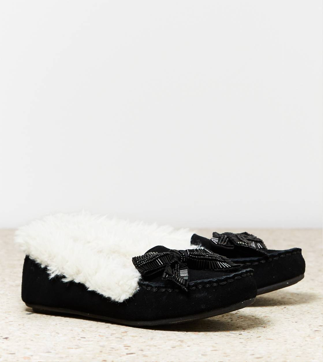 Black AEO Beaded Bow Moccasin