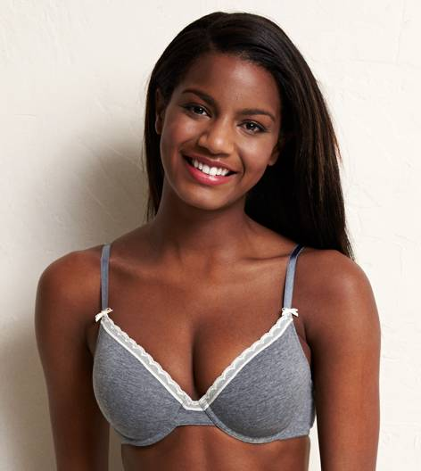 Dark Heather Grey Katie Cotton Lightly Lined Bra