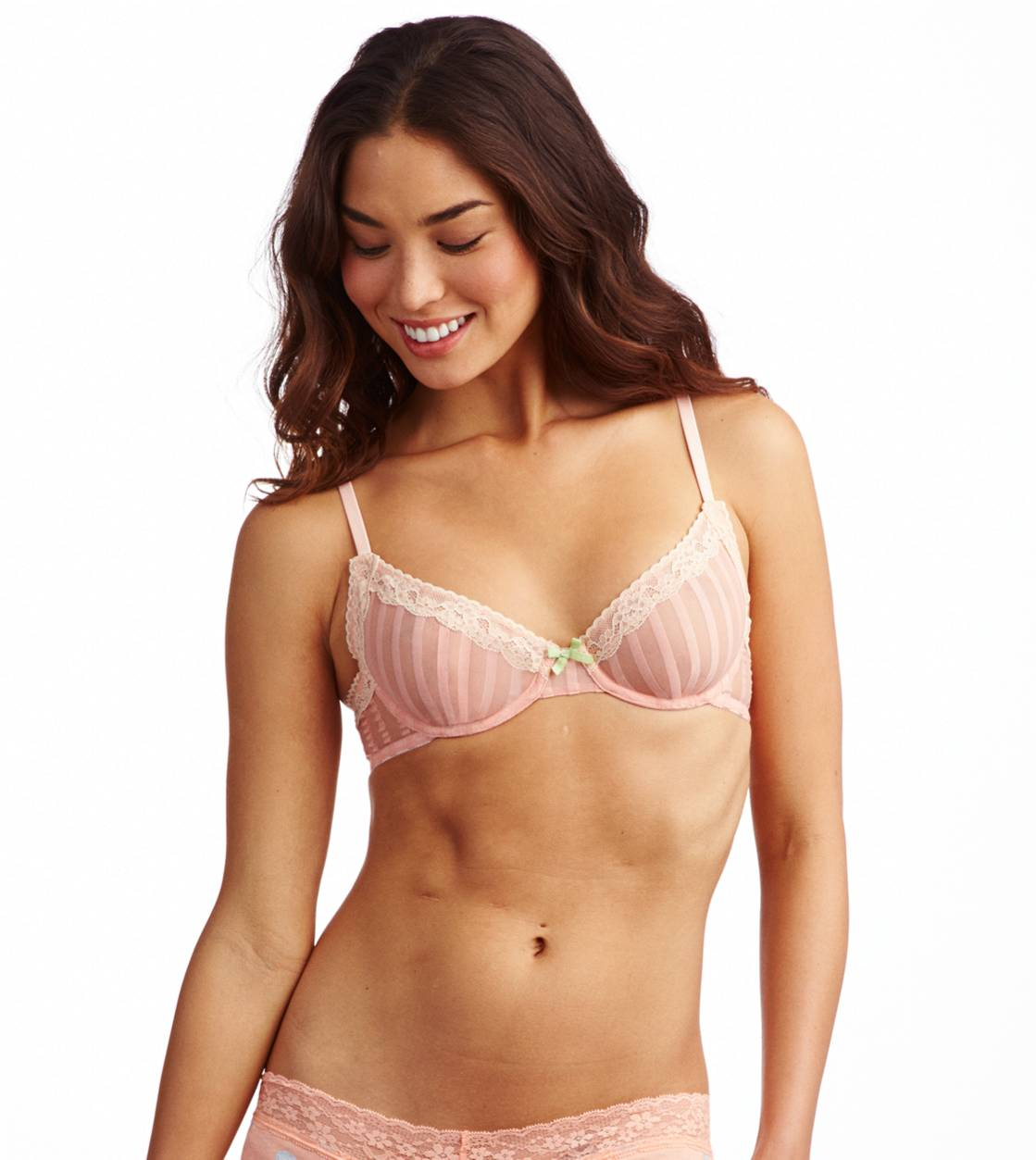 Macaroon Aerie Striped Mesh Unlined Bra