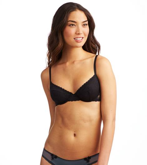 True Black Aerie Lace Unlined Bra