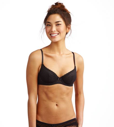 True Black Aerie Heart Mesh Unlined Bra