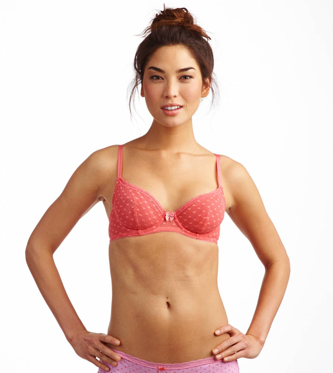 Candied Rhubarb Aerie Heart Mesh Unlined Bra