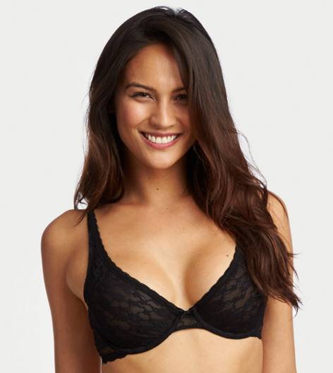 True Black Aerie Unlined Lace Bra