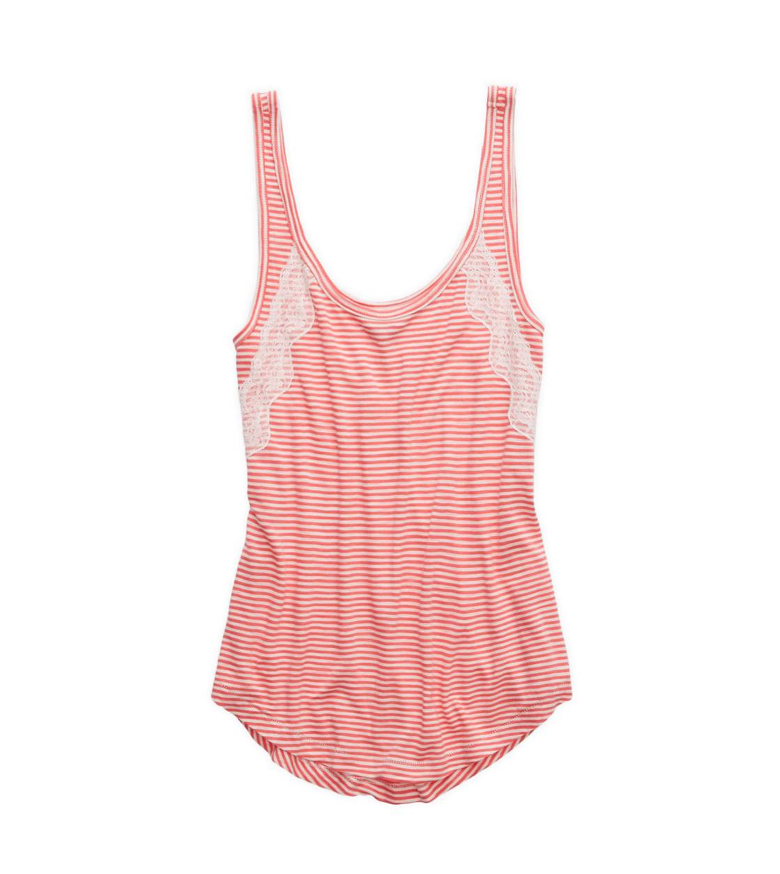 Whipped Strawberry Aerie Stripe & Lace Tank