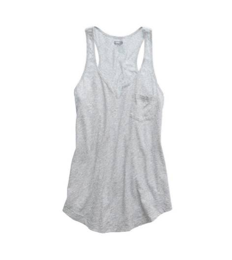Medium Heather Grey Aerie Split Neck Racerback Tank