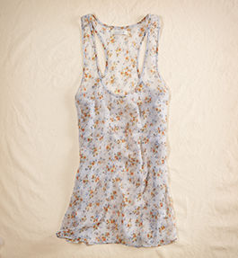 Aerie Chiffon Floral Tank - aerie :  light blue peach sheer white