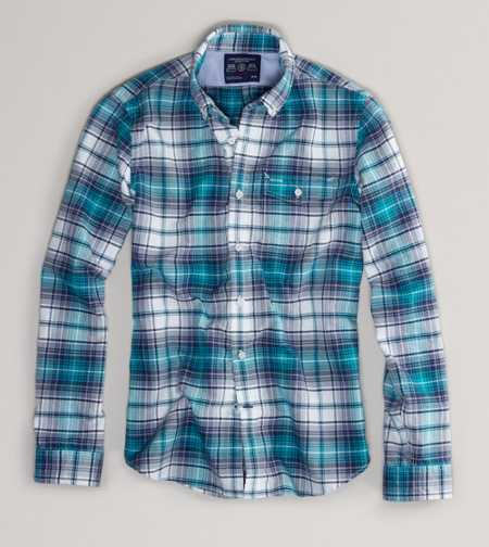 AE Slim Fit Plaid Button-Down - Slim Fit