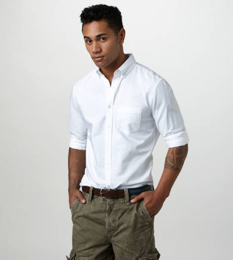 White  AE Solid Oxford Shirt