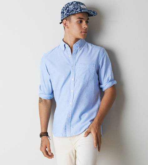 Blue AEO Solid Oxford Button Down