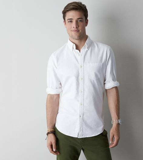 White  AEO Solid Oxford Button Down
