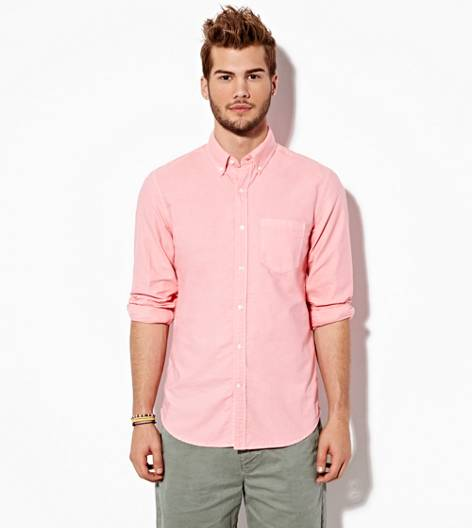 Bright Neon Red AEO Oxford Button Down Shirt