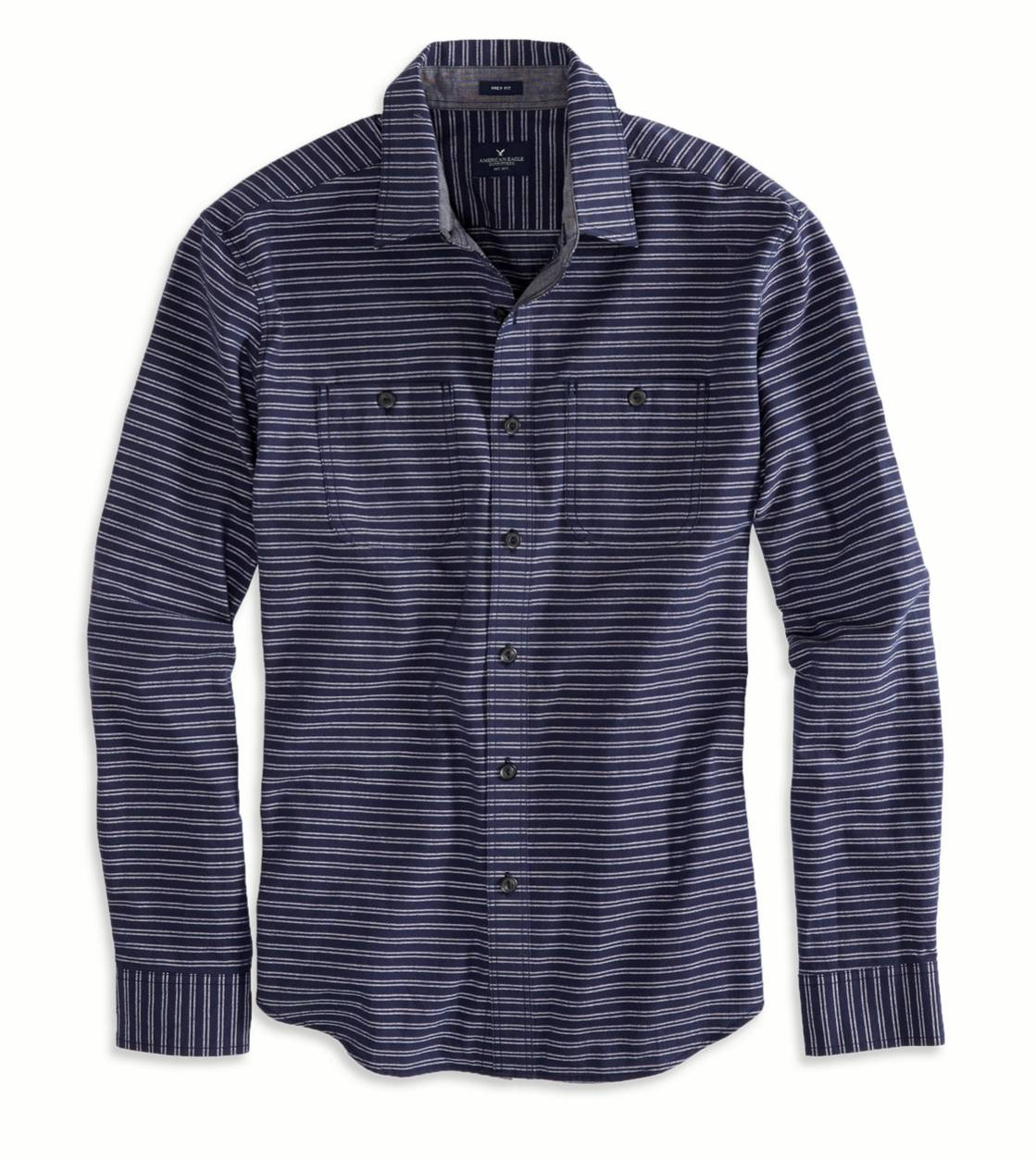 Navy AE Striped Workwear Shirt