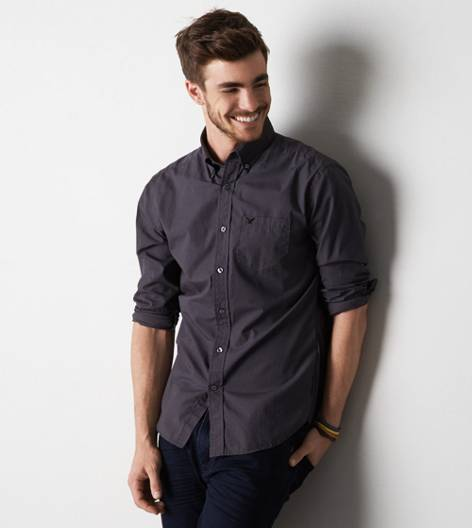 Grey AEO Solid Poplin Button Down Shirt
