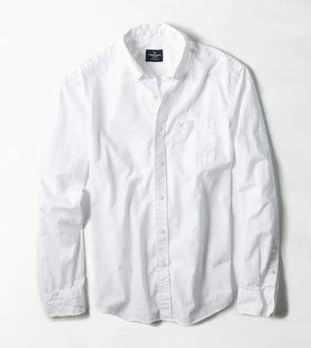 AEO Solid Poplin Button Down Shirt