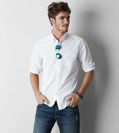 AEO Solid Poplin Button Down Shirt - Buy One Get One 50% Off