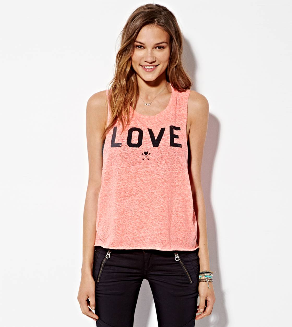 Coral Burst AEO Love Graphic Muscle Tank