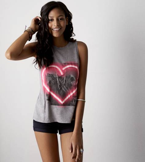Scrimmage Heather AEO Neon Heart Graphic Tank