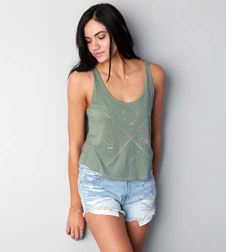AEO Cropped Graphic Muscle Tank