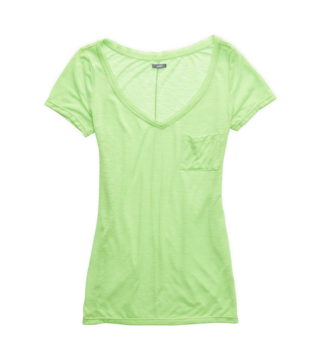 Laser Green Aerie Slim Fit V-Neck Pocket T-Shirt