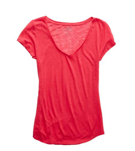 Sunset Red Aerie Basic V-neck T-Shirt