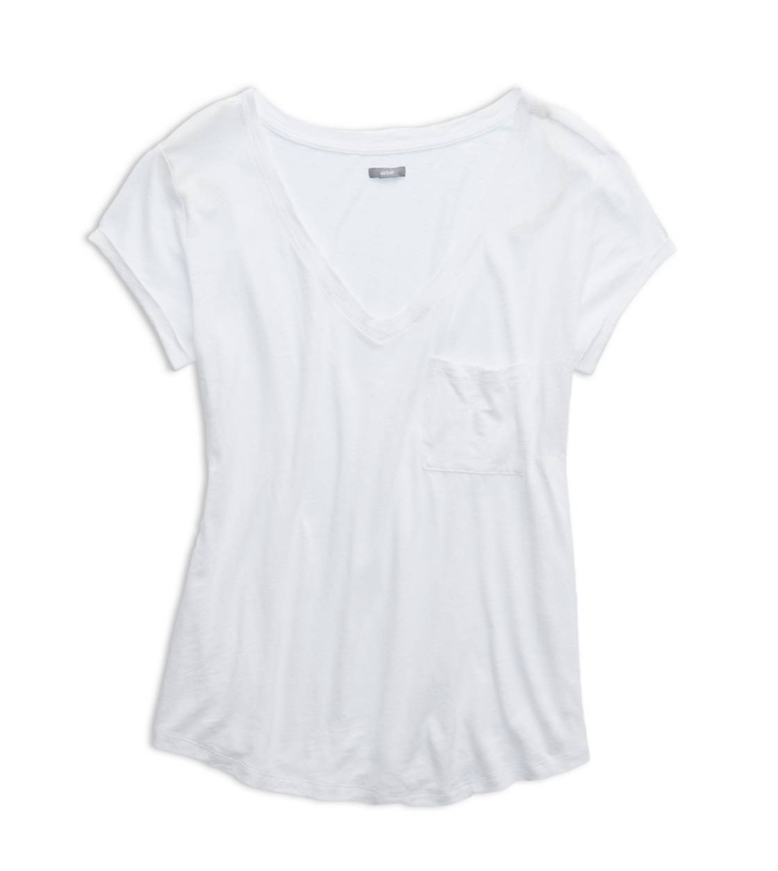 White  Aerie Boyfriend V-Neck T-Shirt