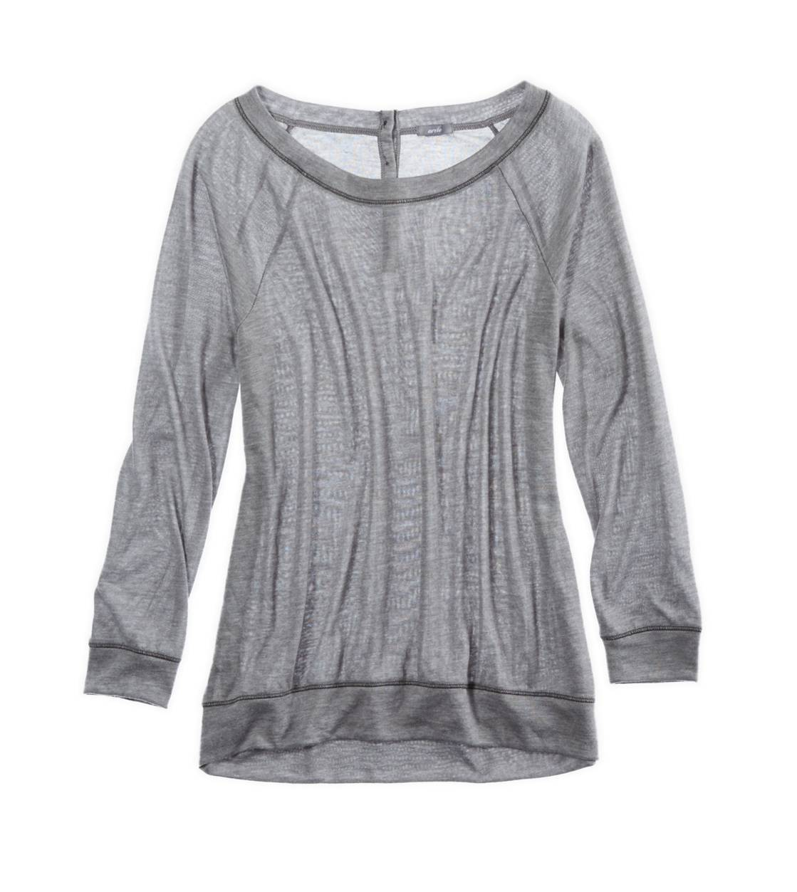 Dark Heather Grey Aerie Soft Button-Back T-Shirt