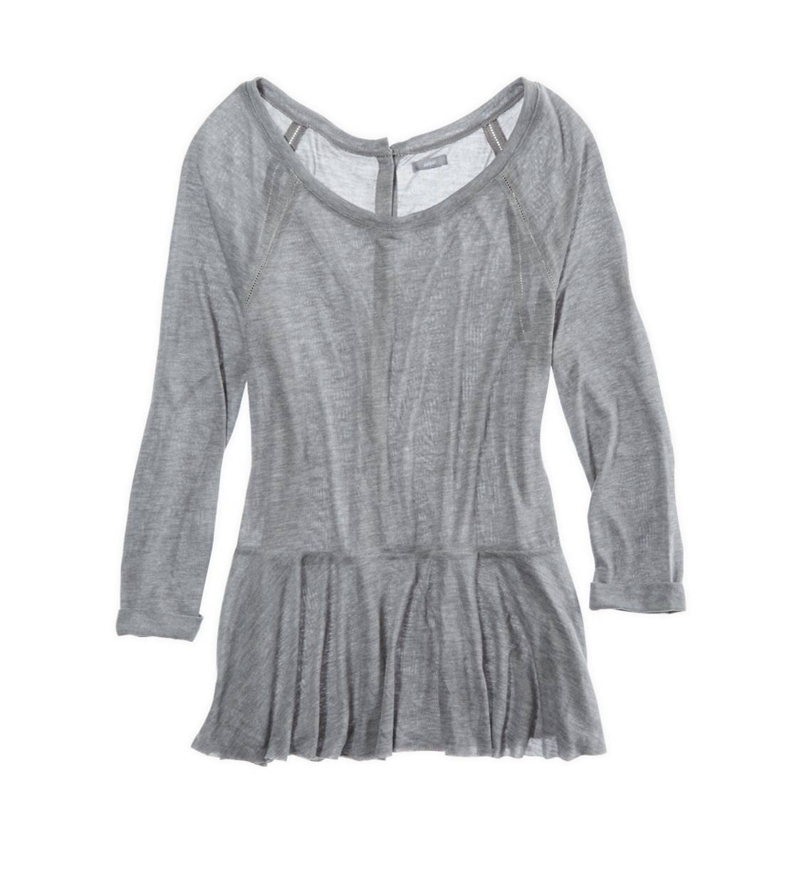 Dark Heather Grey Aerie Button Back Peplum T-shirt
