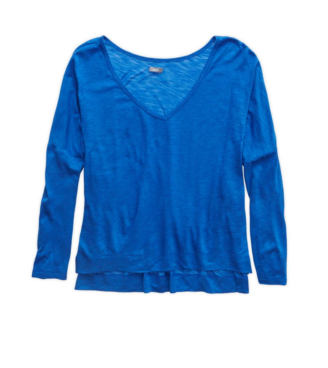 Blue Stead Aerie V-Neck T-Shirt