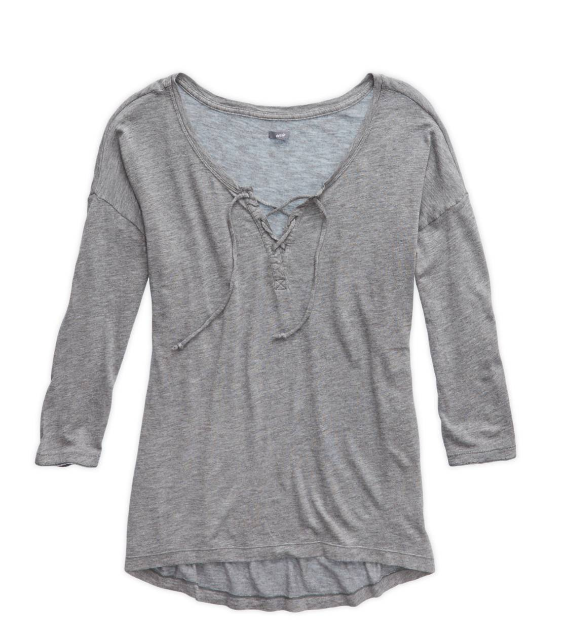 Dark Heather Grey Aerie Comfy Lace-Up T-Shirt